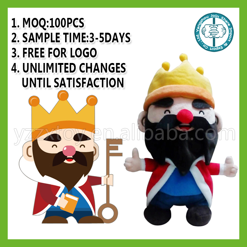 wholesale custom life size king plush doll with crown