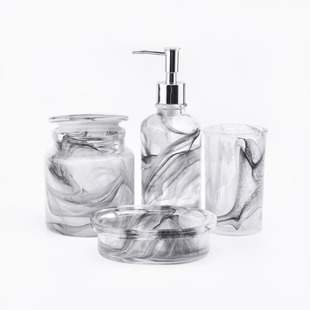 Oval Soap Tray&Tooth Brush holder&Swab Rod Jar&Liquid Soap Bottle in Glass,Marble varnish Bathware