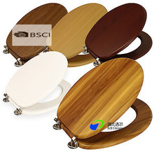 Solid Wood Toilet Seat With Chrome Hinges ,Moulded Wood soft close MDF toilet seat cover