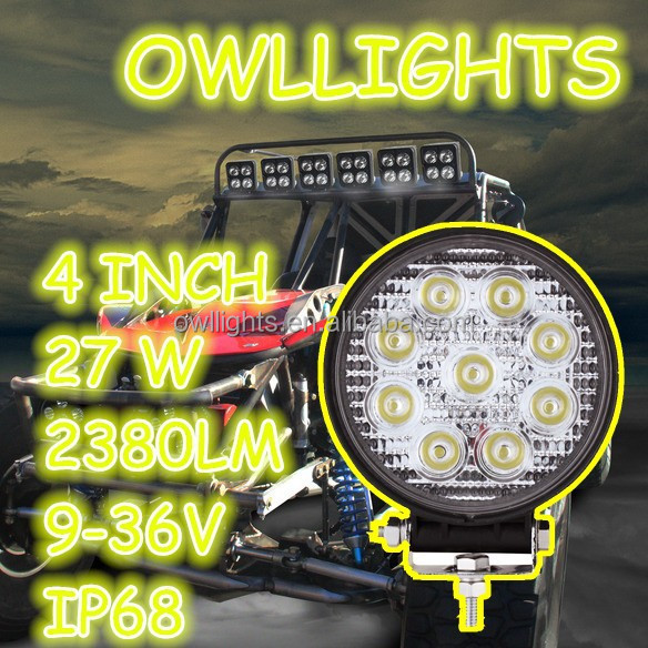 Wholesale 4x4 accessories auto parts 4 inch 27w led headlight super bright motorcycle scooter parts led work light