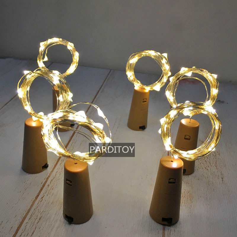 Copper wire string led wine bottle light for party and event decoration