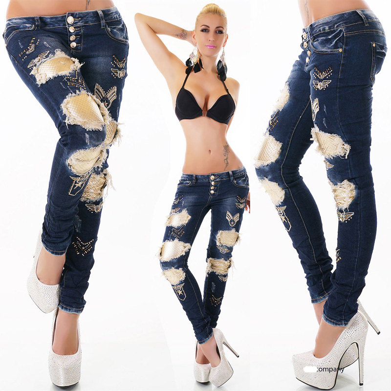 Sexy Women's SkinnyJeans Ripped Gold Effects Pants Brand Name Scratch Jeans
