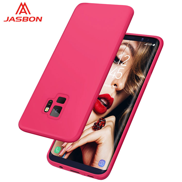 JASBON 2018 new arrival color Rose Red thickened custom gel phone case silicone gel phone case for Samsung S9case for cell phone