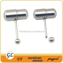 TR01094 Stainless steel tongue rings vibrating body piercing jewelry