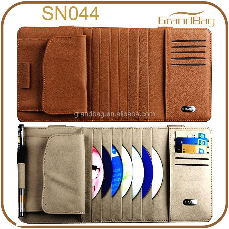 High Quality Leather Sun Visor/CD Bag Car Organizer
