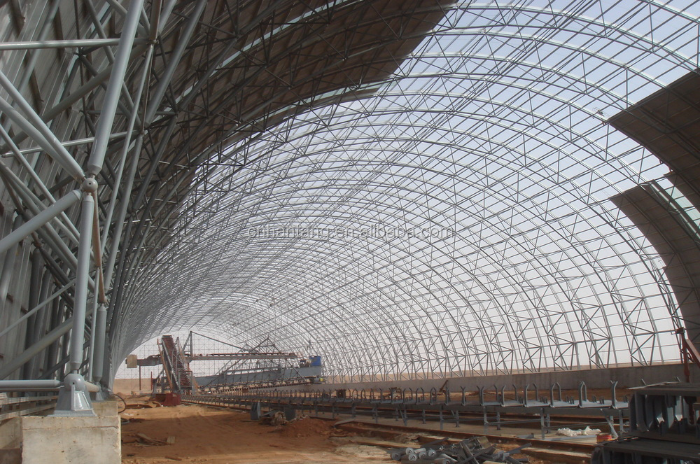 Steel frame arch coal storage shell space frame roof systems building