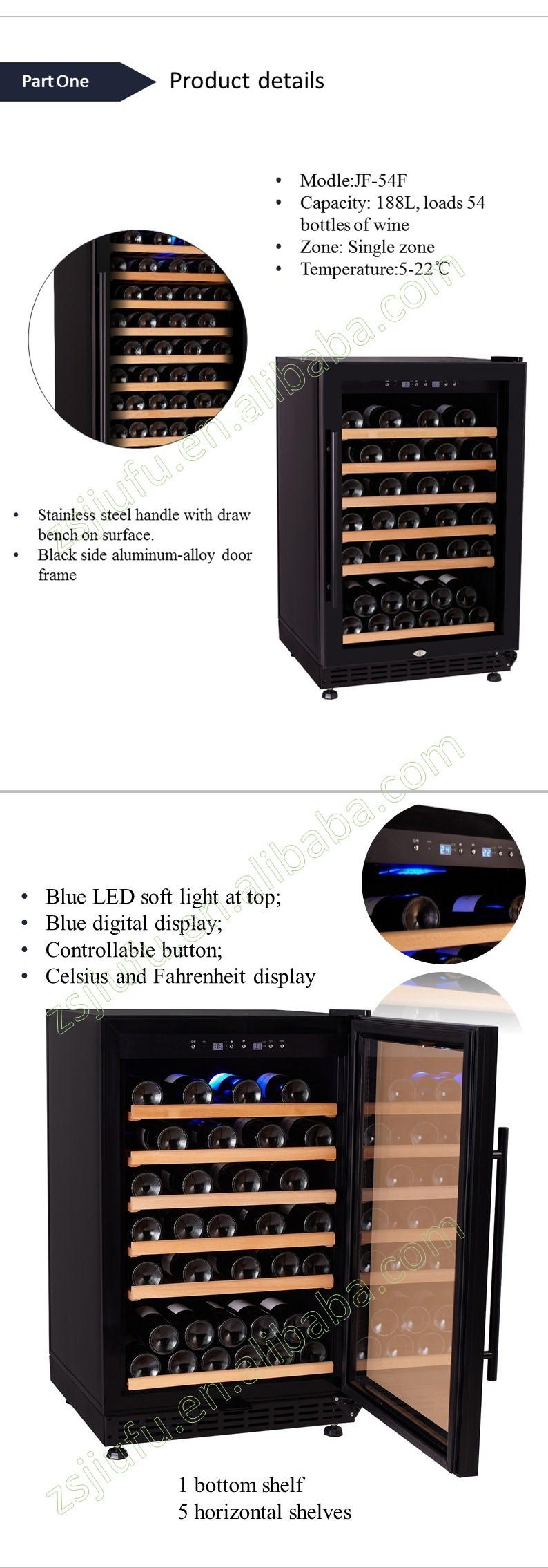 Single zone high quality compressor 50 bottle red wine cooler machine