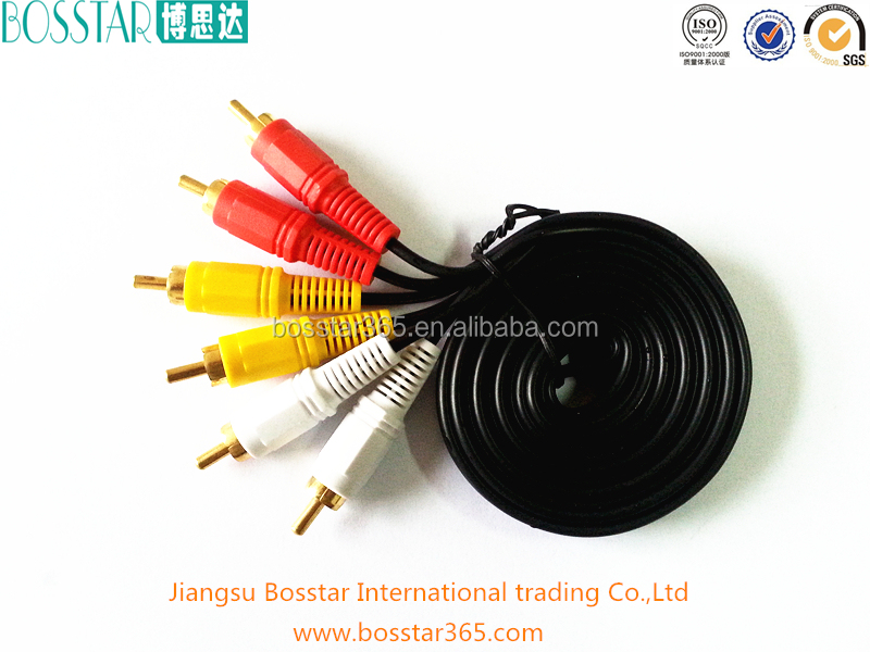 Hot selling High quality 3rca to 3rca black av rca cable in China