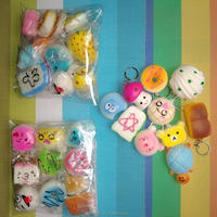 Hot Selling PU Foam Mini Kawaii Squishy Pack Squishies Toy Slow Rising Toys 10/20/30 Pieces Bag Set with Hanging Keychain