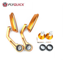 SF-005 FLYQUICK Universal Motorcycle Aluminum Reversible Handle Bar End CNC Small Rearview Mirror