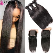 Alibaba <strong>Express</strong> China Brazilian Virgin Hair Straight 3 Bundles With Lace Closure
