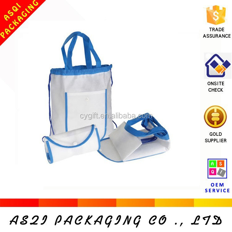 foldable drawstring plain nonwoven recycled shopping bag for promotional