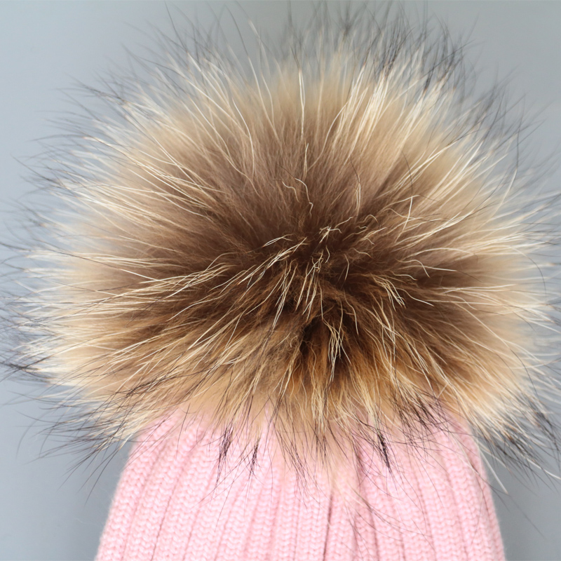 Cashmere knitted winter hats with fluffy raccoon fur pompom fur ball knitted beanies