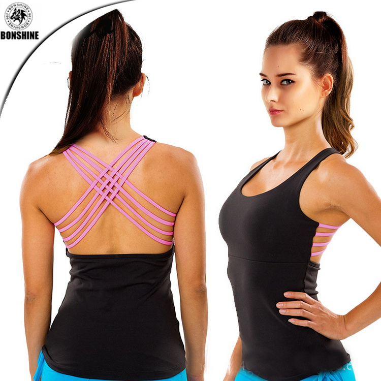 Fashion women new European and American style sports quick-drying strap vest sexy tight-fitting halter breathable <strong>shirt</strong>