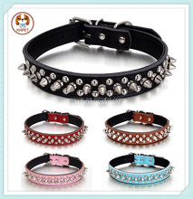 Padded Leather Studded Spiked Dog Collar For Small Pet Puppy 5 Colors 3 Sizes S M L