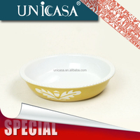 UNICASA 2015 new design ceramic round dinner plate with decal