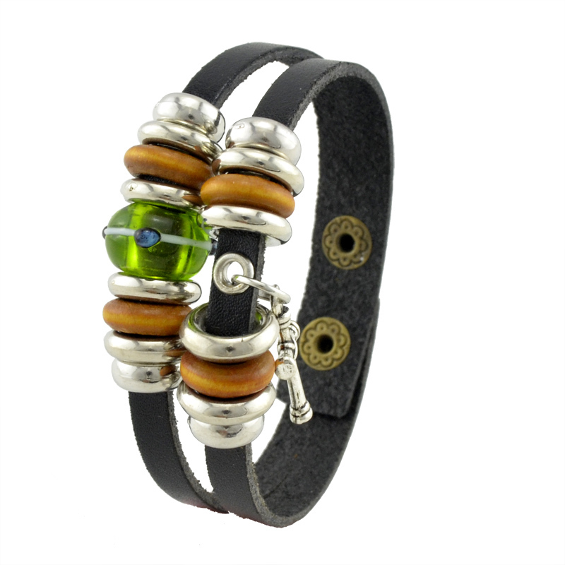 New Classical Style Leather Bracelets Green Austrian Crystal And Silver Cross Charm Bangle Hand Made Bracelet