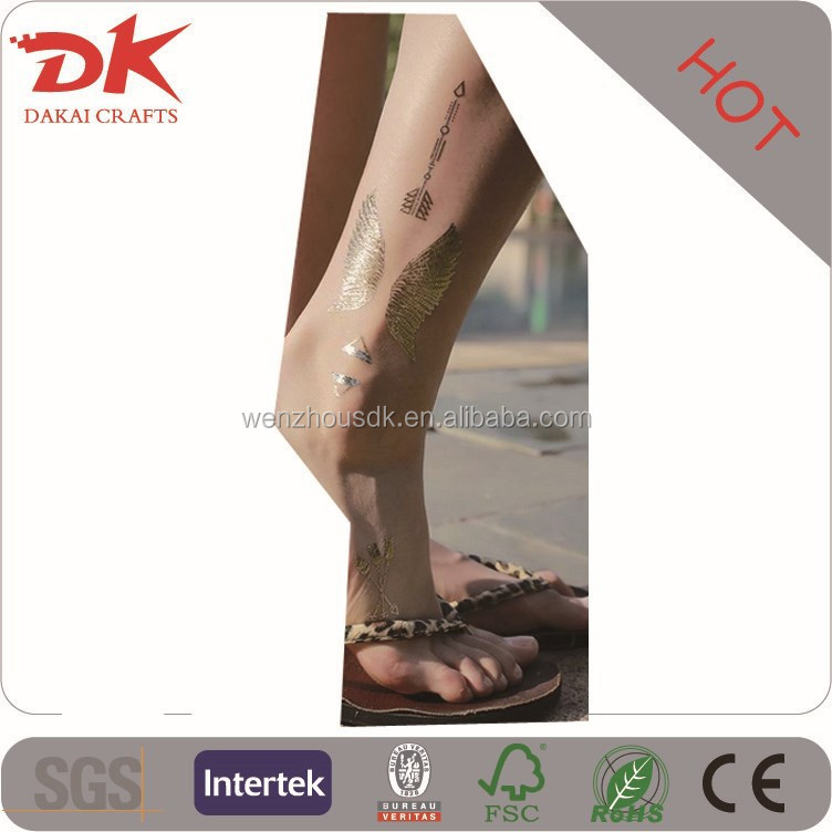 metallic temporary tattoo on boday anywhere you want