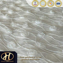 "90""*132""RECTANGLE WHITE CORD EMBROIDERY TABLE COVER WITH FANCY WHITE ROSE ON STIFF WHITE MESH FOR PARTY AND WEDDING"