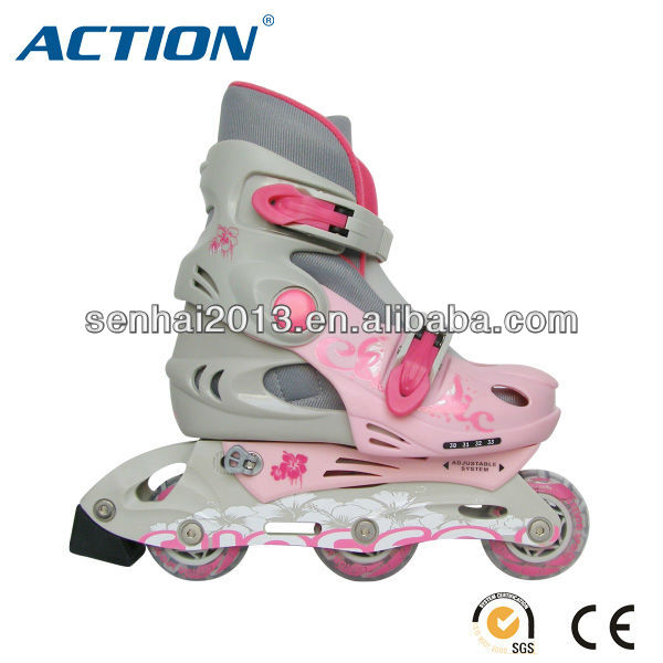 SENHAI/ACTION foshan factory sales pvc wheel 608 bearing pink kids roller skate with flashing Children SHOES