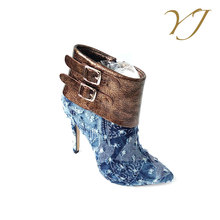 High quality cheap price italian shoe brands women blue denim boots with buckle