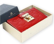 OMNIA CRYSTAL Genuine Leather Purse Wallet(305M-RD)RED