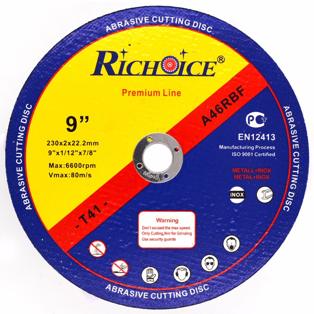 "High quality 9"" 230mm abrasive cutting disc for steel INOX stone"