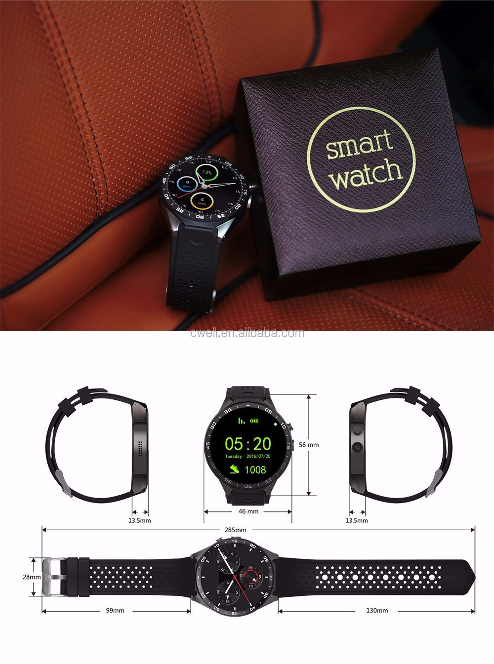 KW88 1.39 inch Amoled Round Screen MTK6580 Quad Core Andriod 5.1 Heart Rate Monitor 3G Smart Watch 2017