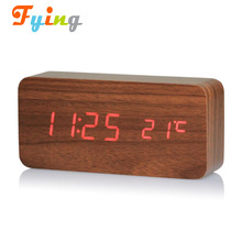 Modern Triangle Wood LED Wooden Alarm Digital Desk Clock Thermometer Classical Timer Calendar Updated 2017 Brighter