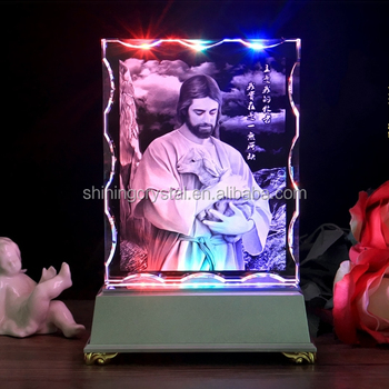 New Arrival Jesus 3d laser engraving religious crystal for Souvenirs gift