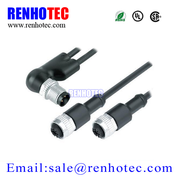 Electrical M12 Wire Cable with IP67 4 Pin Waterproof Connector