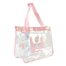 Ladies handle plastic pvc luxury shopping bag