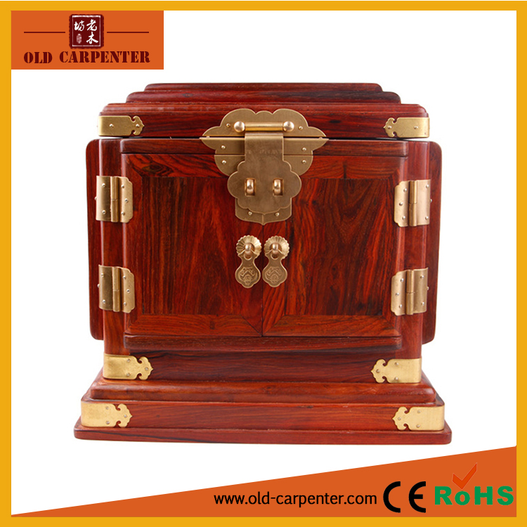 Wholesale large wooden crafts ornaments jewelry box with interior mirror