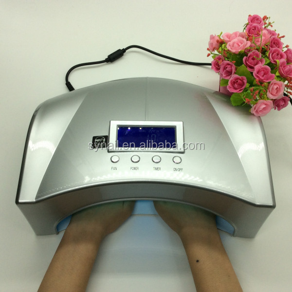 Hight power gel nail drying led lampada ccfl 66w two hands silver led uv lampe
