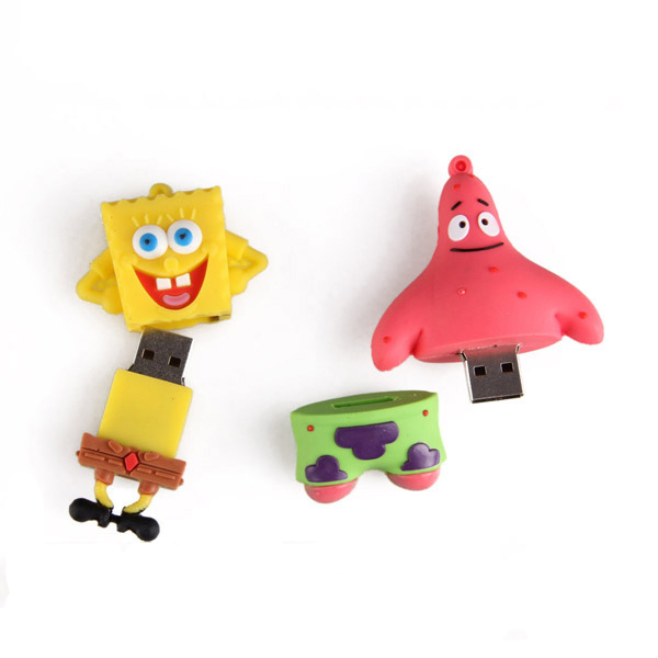 cartoon character toy USB Flash Drive for Sponge B ob, P atrick Star personalized any shape with pvc