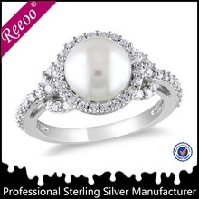 flower pearl white gold ring designs, sterling silver pearl ring settings