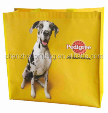 Wholesale high promotion laminated recyclable advertising logo pp printing grocery tote shopping pet non woven bag