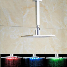 Polished Chrome Brass Led Light Shower Head Ceiling Mounted Shower Arm Square Rainfall 10 Inch Shower Sprayer Head