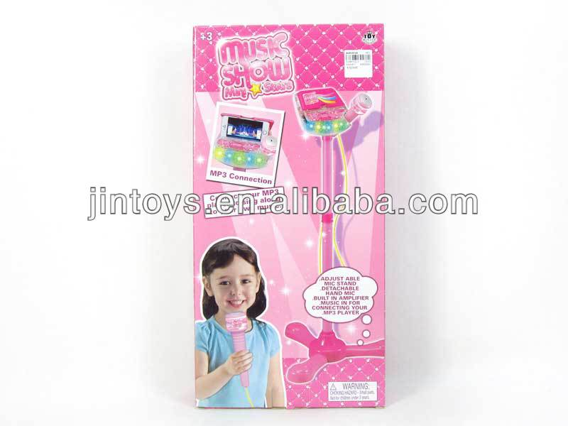 Kids Toys Plastic Pink Standing Karaoke Microphone Players , Music Show toys for Sale, Education toys for children,AL014716