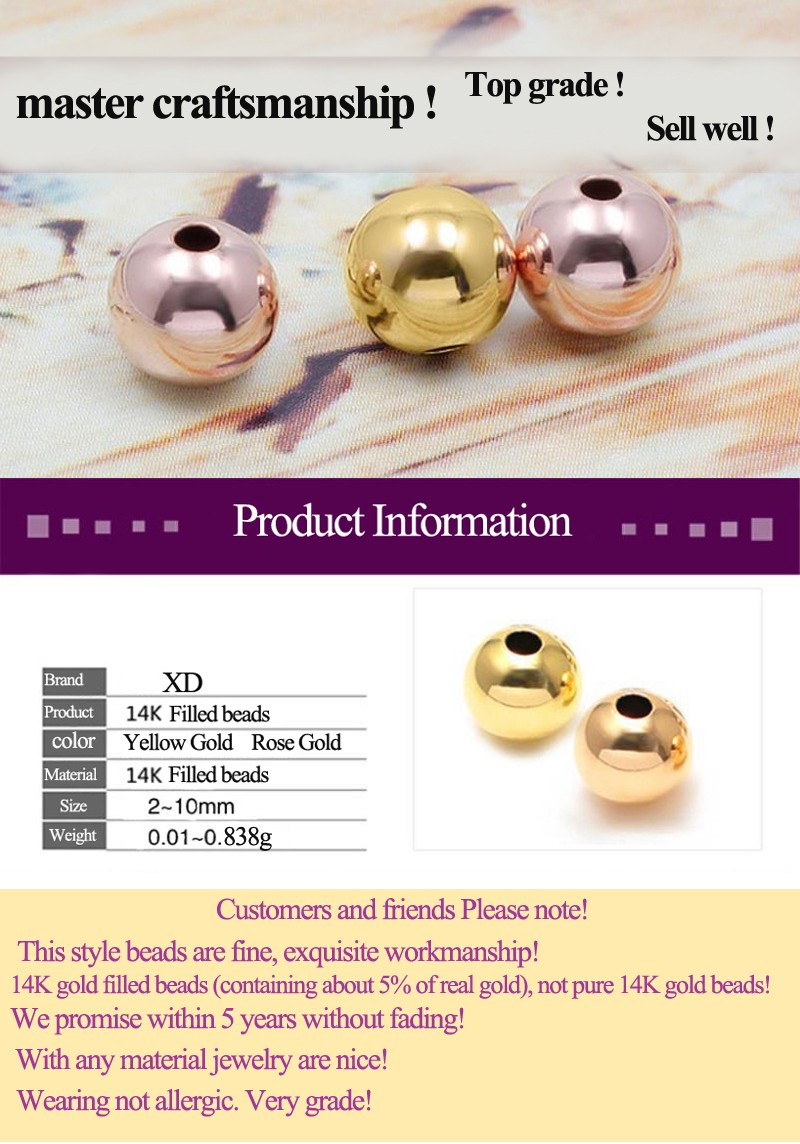 XD BK001  Wholesale 14K Gold Filled Beads  14k gold filled beads wholesale 14 gold filled beads 2/2/5/3/4/5/6/7/8/10