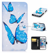 Factory Price PU Leather Wallet Stand Cell Phone Case Flower Butterfly Print Cover for Apple Iphone 6 6s plus