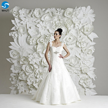 Artificial Decoration wedding flower backdrop white paper flowers wall