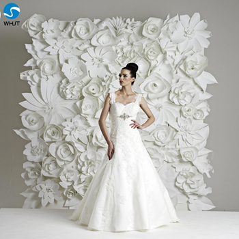 Decoration wedding flower backdrop white paper flowers wall