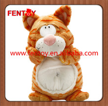 Lovely ginger tabby cat larger singing plush toy for sale