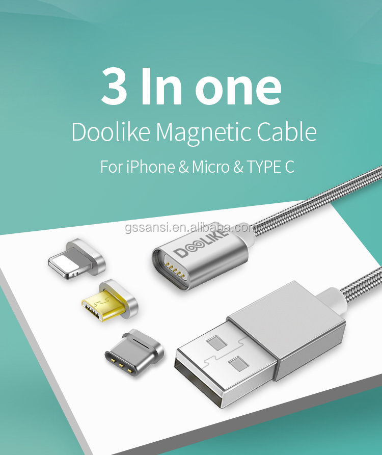 new products 3 in 1 fast charging cable magnetic type c cable 3.0 micro usb for iPhone x cell phone