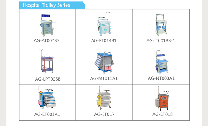 AG-AT001A3 Centralized lock ABS material hospital anaesthesia medical trolley