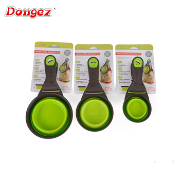 factory supply!Hi-Q Silicone foldable Pet Food Scoop with Clip small animal cat dog silicone Collapsible Food Cup