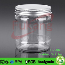 700 ml pet jar with aluminum cap, dried fruit packaging PET clear macaron plastic container