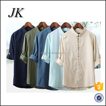 Retro Collar Button Traditional Chinese Men's Kung Fu Linen Half Sleeve Casual Shirts Tops