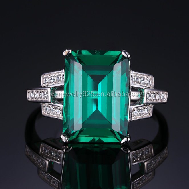 Gold Jewelry African 925 Sterling Silver emerald ring